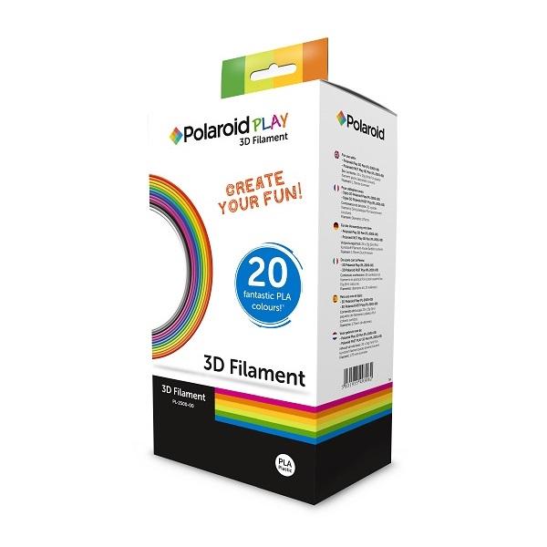 מארז 20 סלילי PLA Filament מקוריים Polaroid באורך 100 מטר (5 מטר כל סליל)
